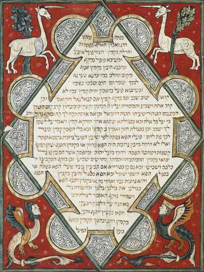 Illuminated Page from the Jewish Bible, Hebrew Manuscript from Cervera, Spain--Giclee Print