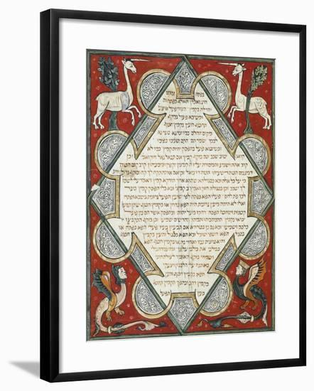 Illuminated Page from the Jewish Bible, Hebrew Manuscript from Cervera, Spain--Framed Giclee Print