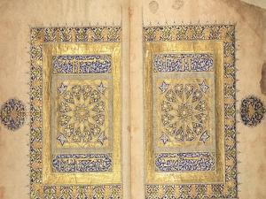 Illuminated Pages from a Koran Manuscript, Il-Khanid Mameluke School
