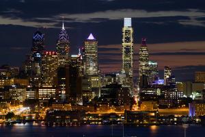 Illuminated skylines, Philadelphia, Pennsylvania, USA