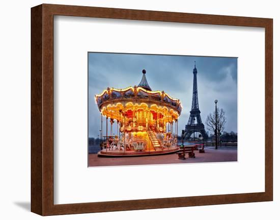 Illuminated Vintage Carousel close to Eiffel Tower, Paris-Nataliya Hora-Framed Photographic Print