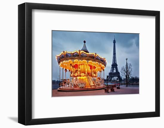 Illuminated Vintage Carousel close to Eiffel Tower, Paris-Nataliya Hora-Framed Photographic Print