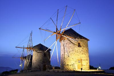 Illuminated Windmills of Chora, Patmos, Dodecanese, Greek Islands, Greece, Europe-Neil Farrin-Photographic Print