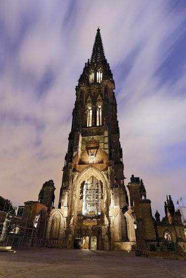 Illuminateded Steeple St. Nikolai, Old Town, Hanseatic City Hamburg, Germany-Axel Schmies-Photographic Print
