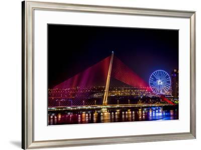 Illumination of Tran Thi Ly Bridge over the Han River, Tet Festival, New Year celebration, Vietnam.-Tom Norring-Framed Photographic Print