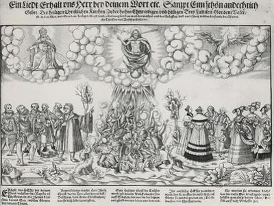 Illustation of Martin Luther's Hymn Asking for the Help of God Against the Deadly Work of the Pope