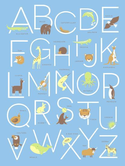 Illustrated Animal Alphabet ABC Poster Design-TeddyandMia-Premium Giclee Print