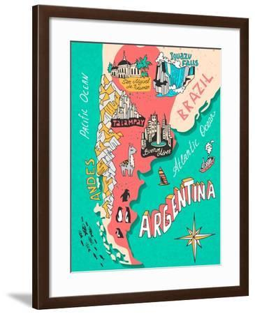 Illustrated Map of Argentina. Travel. Cartography-Daria_I-Framed Art Print