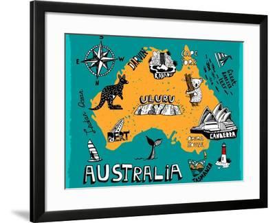 Illustrated Map of Australia-Daria_I-Framed Art Print