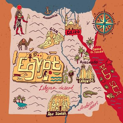Illustrated Map of Egypt-Daria_I-Art Print