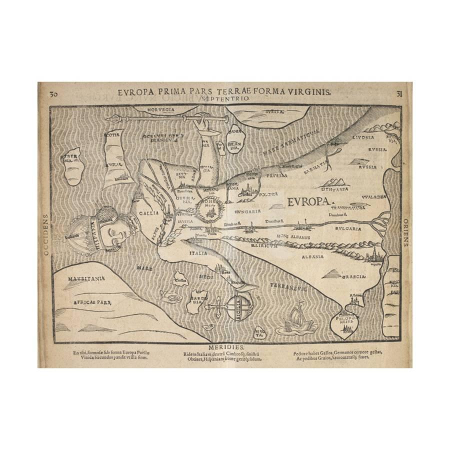 Illustrated Map Of Europe Magdeburg Germany 1598 Giclee Print By