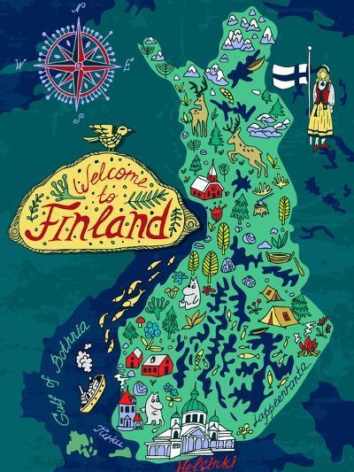 Illustrated Map of Finland. Travels-Daria_I-Art Print