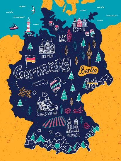 Map Of Germany To Print.Illustrated Map Of Germany Art Print By Daria I Art Com
