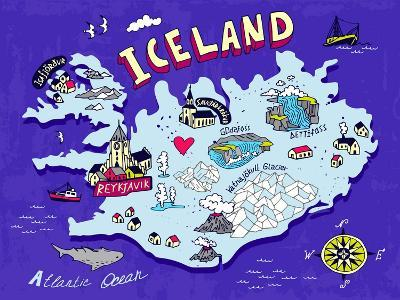Illustrated Map of Iceland. Travel. Cartography-Daria_I-Art Print