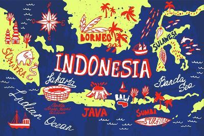 Illustrated Map of Indonesia-Daria_I-Art Print