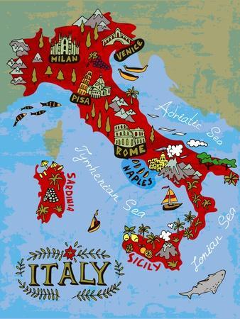 Illustrated Map of Italy. Travel-Daria_I-Art Print