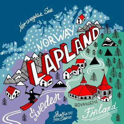 Illustrated Map of Lapland-Daria_I-Art Print