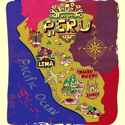 Illustrated Map of Peru. Travel-Daria_I-Art Print