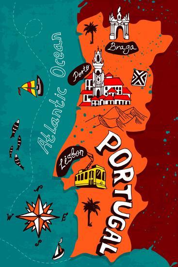 Illustrated Map of Portugal-Daria_I-Art Print