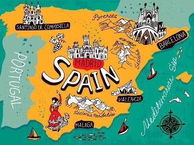 Illustrated Map of Spain-Daria_I-Art Print