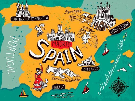 Map Of Spain For Printing.Illustrated Map Of Spain Art Print By Daria I Art Com