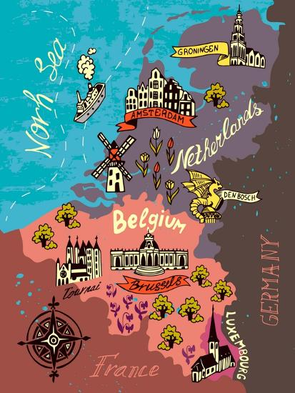 Illustrated Map of the Netherlands, Belgium, Luxembourg Art Print by on belgium tourist map, belgium germany map, belgium land use map, switzerland and netherlands map, holland and netherlands map, belgium art and culture, belgium language map, benelux on map, belgium country map, belgium political map, great britain and netherlands map, england and netherlands map, mons belgium map, belgium flag map, belgium on map, denmark and netherlands map, france and netherlands map, belgium holland france map, belgium attack, italy and netherlands map,