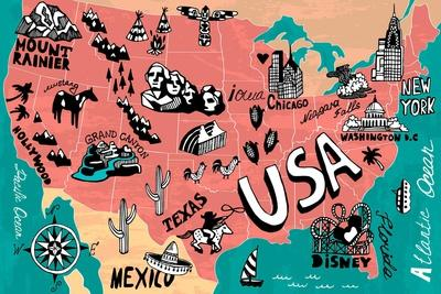 Illustrated Map of USA-Daria_I-Art Print