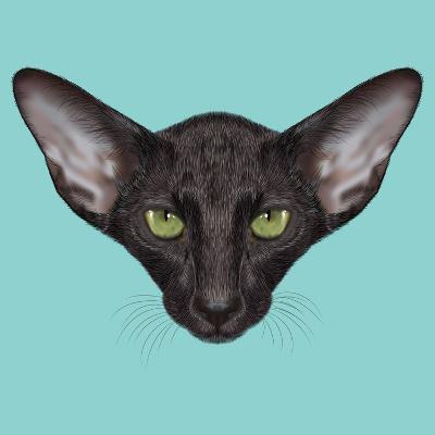 Illustrated Portrait of Black Oriental Shorthair Cat.-ant_art19-Art Print