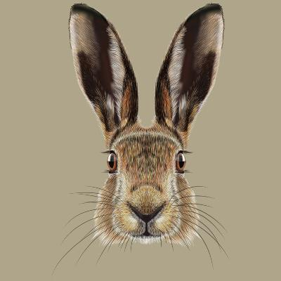 Illustrated Portrait of Hare-ant_art19-Art Print