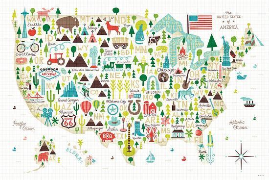 Illustrated USA-Michael Mullan-Art Print