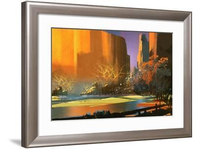 Illustration Art of Colorful Landscape,Nature Background-Tithi Luadthong-Framed Art Print
