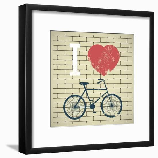 Illustration Bicycle over Grunge Brick Wall. I Love My Bicycle-AnnaKukhmar-Framed Art Print