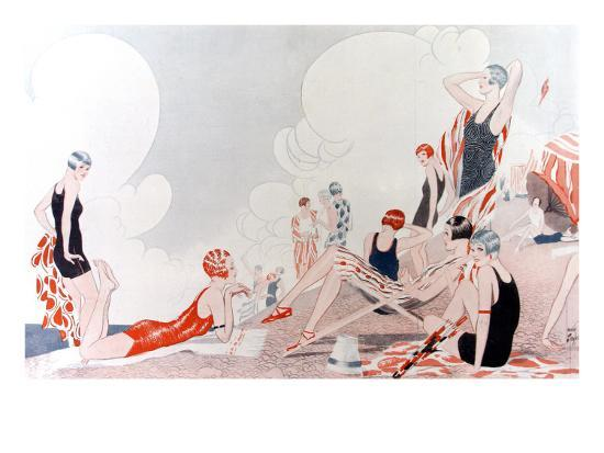 Illustration by Laurie Taylor Showing 1920's Sunbathers and Swimmers on a Shingled Beach--Giclee Print