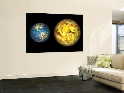 Illustration Comparing the Size of Extrasolar Planet Gliese 581 C with That of the Earth-Stocktrek Images-Wall Mural