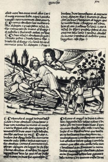 Illustration Depicting Abraham Who Is Asked by God to Sacrifice His Son Isaac--Giclee Print