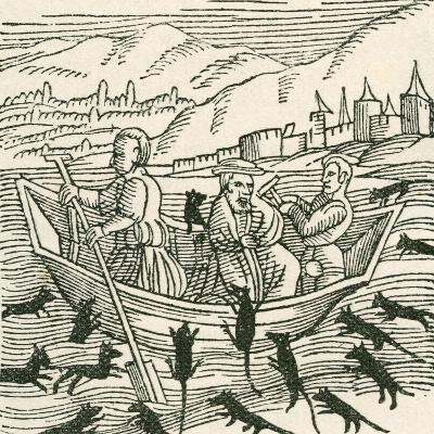 Illustration Depicting the 10th Century Folk Tale of Hatto, Who Was the Archbishop of Mainz--Giclee Print