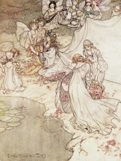 Illustration for a Fairy Tale, Fairy Queen Covering a Child with Blossom-Arthur Rackham-Giclee Print