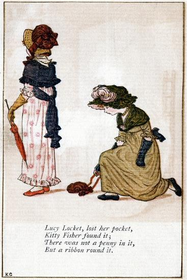Illustration for Lucy Locket, Lost Her Purse, Kate Greenaway (1846-190)-Catherine Greenaway-Giclee Print