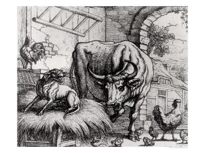"Illustration for ""The Dog and the Ox"", from Aesop's Fables, 1666-Francis Barlow-Giclee Print"