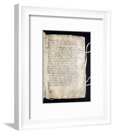 Illustration from a manuscript of Snorri Sturluson's Prose Edda, Sweden, 14th century-Werner Forman-Framed Photographic Print