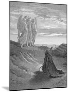 Illustration from Dore Bible of Old Testament Patriarch Abraham and the Three Angels