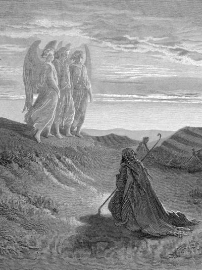 Illustration from Dore Bible of Old Testament Patriarch Abraham and the Three Angels--Photographic Print