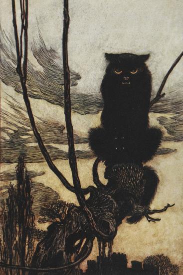 Illustration From Jorinda and Joringel Of a Black Cat-Arthur Rackham-Giclee Print