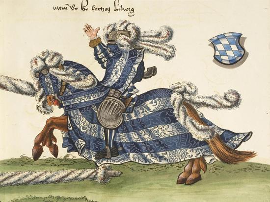 Illustration from Turnier Buch Depicting Wilhelm Von Bayern Clashing with Wurttemberg Knight--Giclee Print