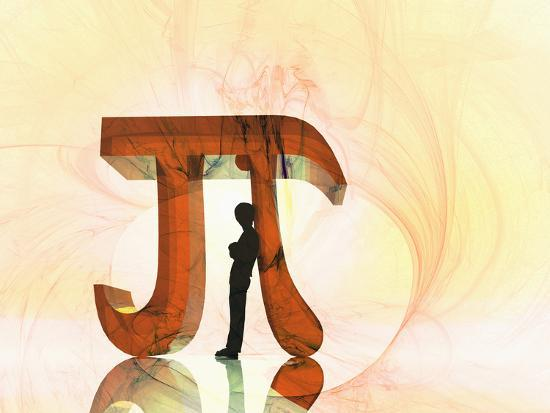 Illustration of a Boy Leaning Against a Mathematical Symbol for Pi-Carol & Mike Werner-Photographic Print