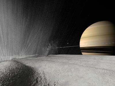Illustration of a Geyser Erupting on the Surface of Enceladus-Stocktrek Images-Photographic Print