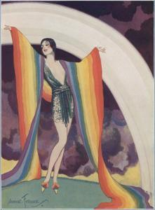 Illustration of a Glamorous Lady Wearing a Rainbow as a Shawl