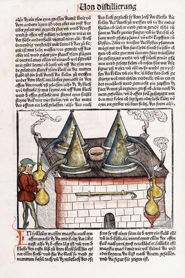 Illustration of a Late 15th Century Distillery to Extract the Essential Oils of Plants, 1500-Hieronymus Brunschwig-Giclee Print