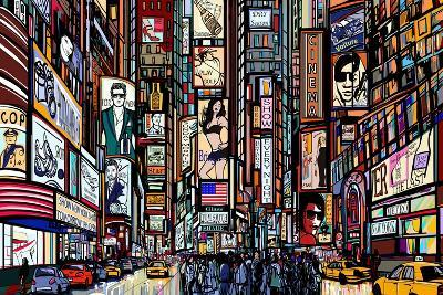 Illustration of a Street in New York City-isaxar-Art Print