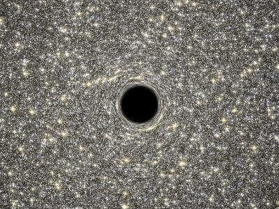 Illustration of a Supermassive Black Hole in the Middle of a Dense Galaxy--Art Print